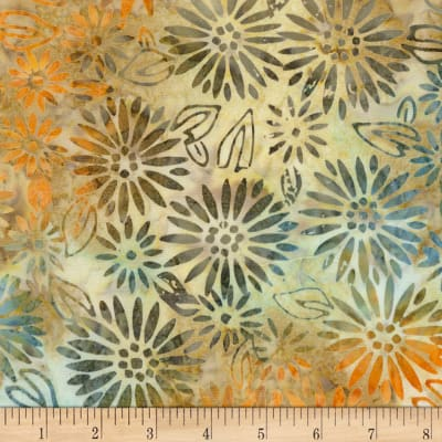 Timeless Treasures Tonga True Love Batik Daisy Block Natural