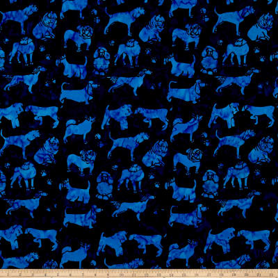 Island Batik Cotton Dogs Navy