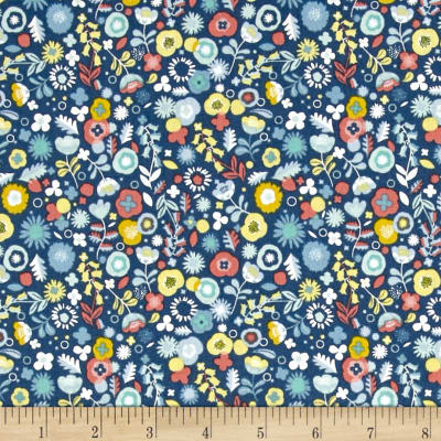 Modern Retro Ditzy Flower Blue