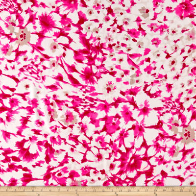 Italian Digital Abstract Floral Silk Crepe de Chine Pink/White