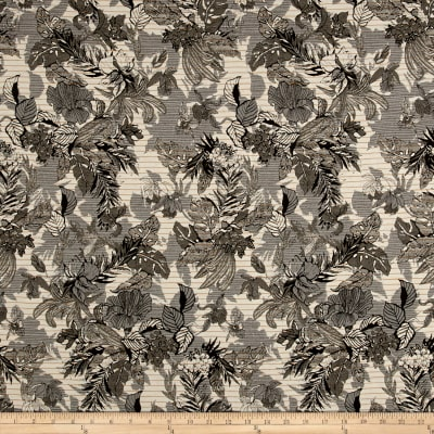 French Reversible Tropical Floral Jacquard Olive/Gray/Mustard/White