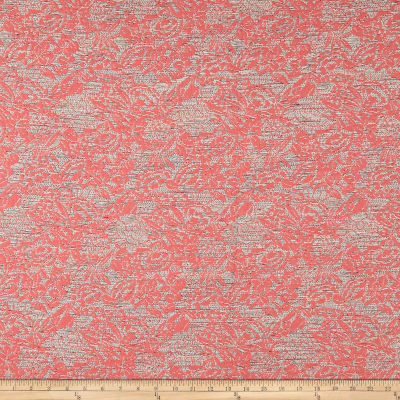 French Metallic Floral Jacquard Pink/Red/White/Orange