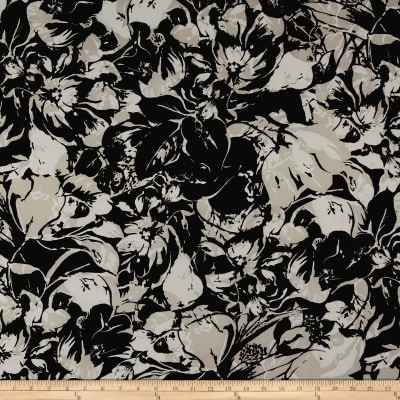 Floral Abstract Peachskin White/Dove/Black