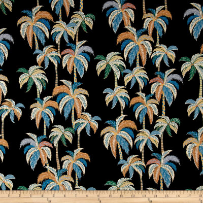 Palm Tree Rayon Challis Black/Multi