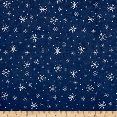 Riley Blake Jingle Jangle Snowflake Flannel Navy