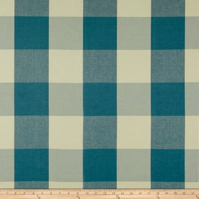 "Laura & Kiran 4"" Check Plaid Teal Canvas"