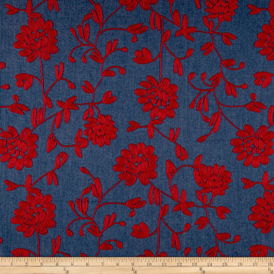Telio Embroidered Chambray Red