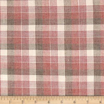 Houndstooth Plaid Yarn-Dyed Lawn Red/Tan/Cream