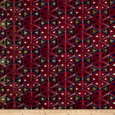 Supreme African Wax Print 6 Yards Red/Navy/Tan