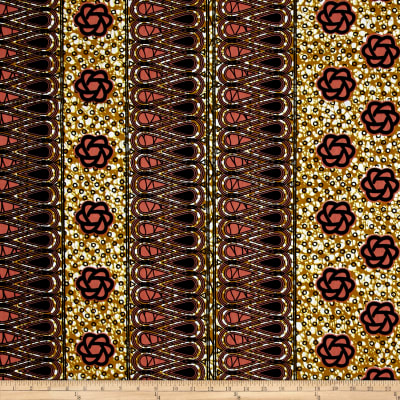 Supreme African Wax Print 6 Yards Tan/Peach/Indigo