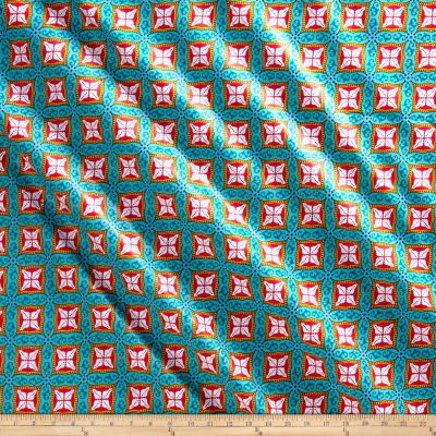 Supreme Fancy African Print 6 Yards Teal/Red