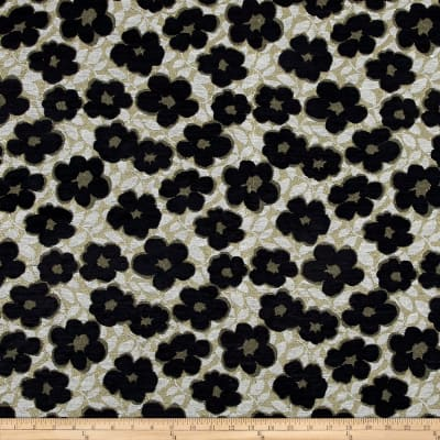 Metallic Graphic Floral Chenille Jacquard Gold