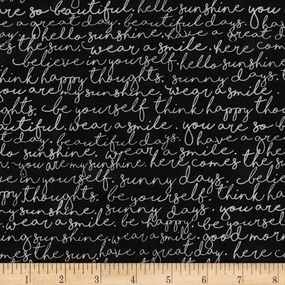 Timeless Treasures You Are My Sunshine Script Black