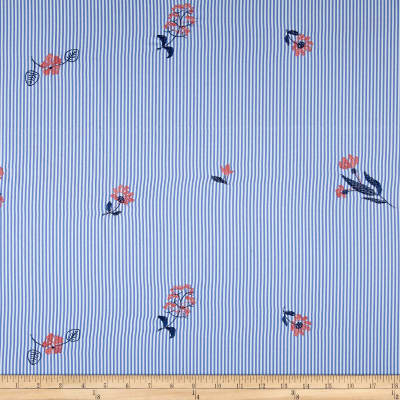 Embroidered Yarn Dyed Poplin Floral Stripe Chambray/Coral