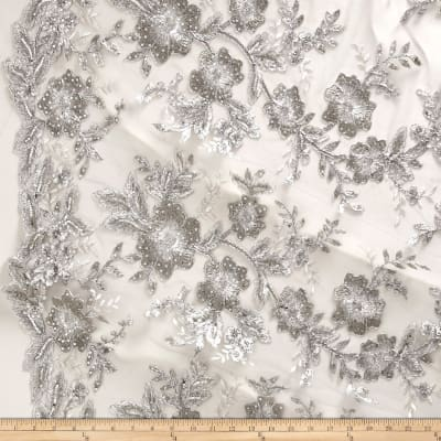 Stretch Floral Embroidered Mesh Lace Silver/Silver