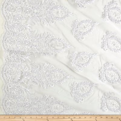 Bridal Corded Sequin Lace Netting White Metallic