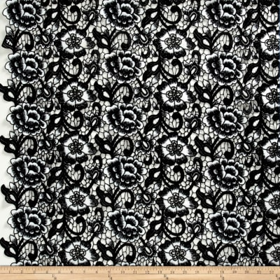 Floral Guipure Lace Black/White