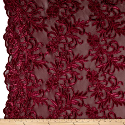 Heavyweight Embroidered Mesh Lace Burgundy