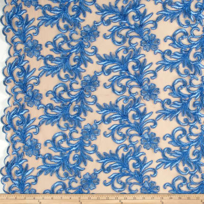 Heavyweight Embroidered Mesh Lace Blue