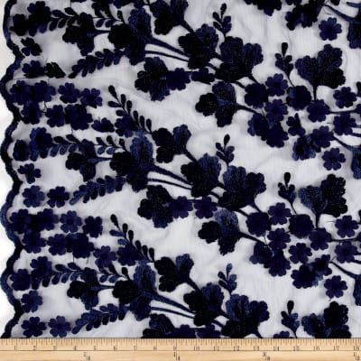 Embroidered Mesh Lace Floral Navy