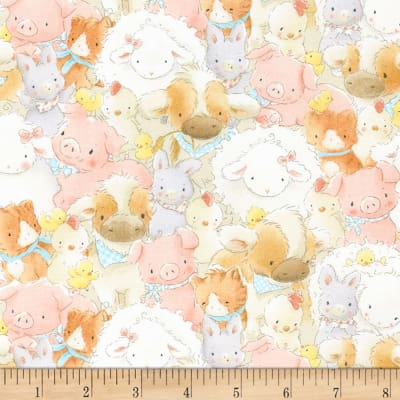 Timeless Treasures Cotton Tale Farm Packed Farm Animals Multi