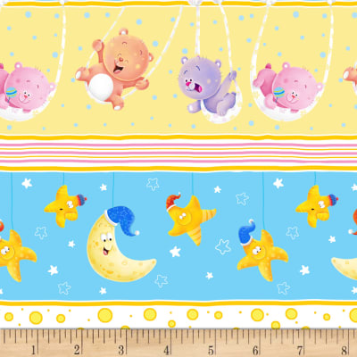 Wish Upon A Star Flannel Bears/Stars/Moons Stripe Yellow/Turq