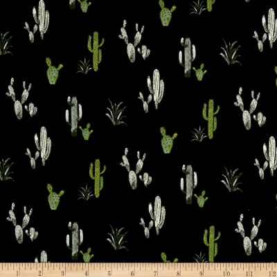 Double Brushed Poly Spandex Jersey Knit Cacti Black/Green