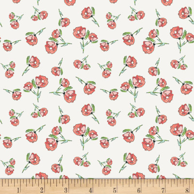 Art Gallery Wild Bloom Jersey Knit Lively Rosebuds Crystal Off-White