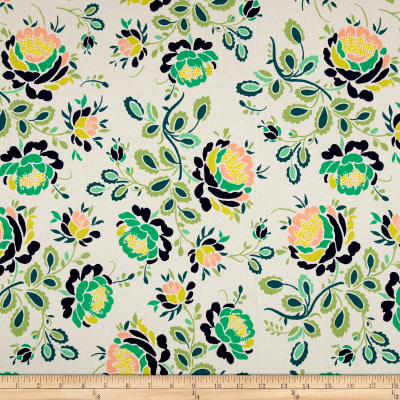 Art Gallery Floralia Fusion Jersey Knit Stenciled Petals Floralia Emerald Green