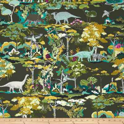 Art gallery esoterra dinosauria grey discount designer for Grey dinosaur fabric
