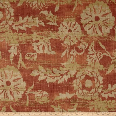 Ralph Lauren Home LCF65287F Sonoran 100% Linen Basketweave Floral Adobe