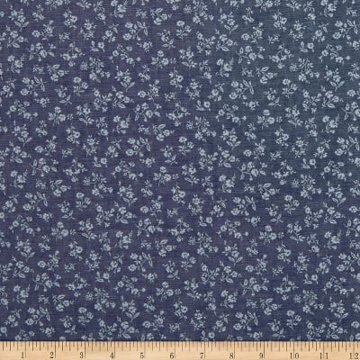 Kaufman Sevenberry Classiques Chambray Flowers Royal