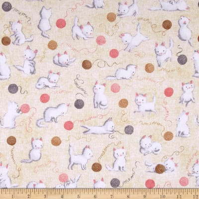 Kaufman Cuddly Kittens Flannel Cats and Yarn Tan