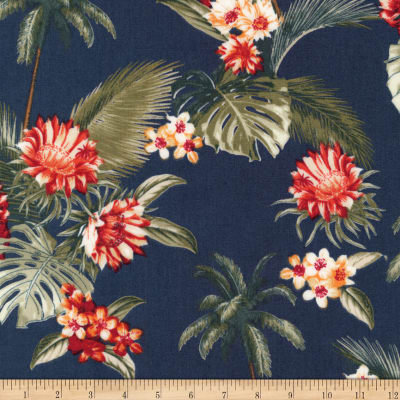 Kaufman Sevenberry Island Paradise Palm Trees and Flowers Navy