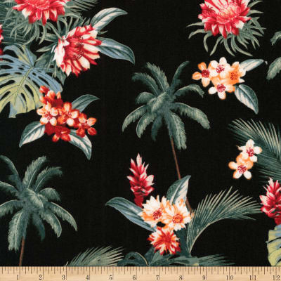 Kaufman Sevenberry Island Paradise Palm Trees and Flowers Black