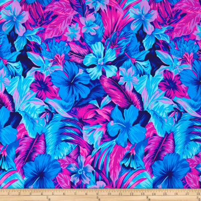 Pine Crest Fabrics Tahitian Floral Printed Athletic Knit Original Turquoise/Magneta