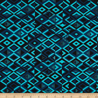 Pine Crest Fabrics Driven Printed Athletic Knit Black/Grey/Blue