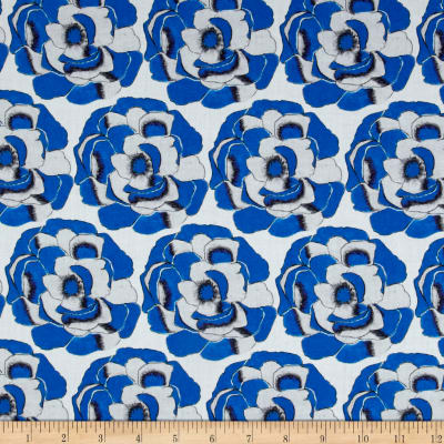 Thakoon Sketched Floral Voile Azure Blue/White
