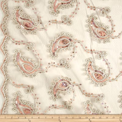 Coco Paisley Sequin Double Border Lace Taupe