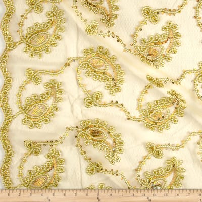 Coco Paisley Sequin Double Border Lace Gold