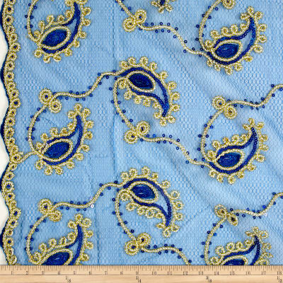 Coco Paisley Sequin Double Border Lace Royal Gold