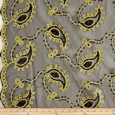 Coco Paisley Sequin Lace Black and Gold