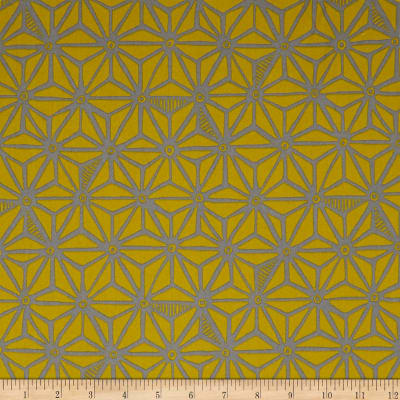 Kaufman Psychedelia  Flowers Toile Taupe/Mustard
