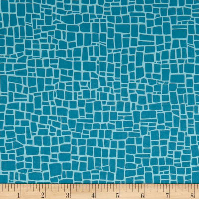 Kaufman Dinoroar Vintage Stripes, Blocks Teal