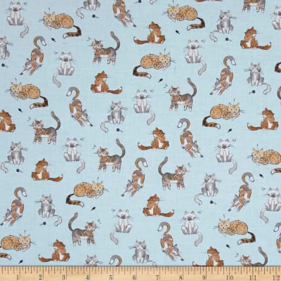 Kaufman Whiskers & Tails Digital Print Silver Dots, Cats, Blue