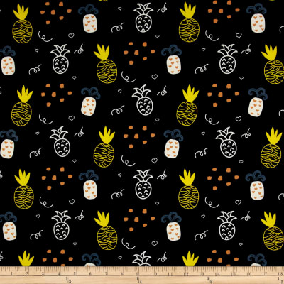 Pine Crest Fabrics Pineapple Doodle on Olympus Athletic Double Knit Yellow/Black