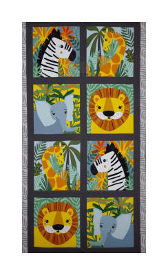 Kaufman Safari Soiree Animal Panel Grey