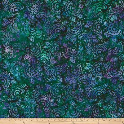 Kaufman Artisan Batiks Regal 3 Flowers Grass