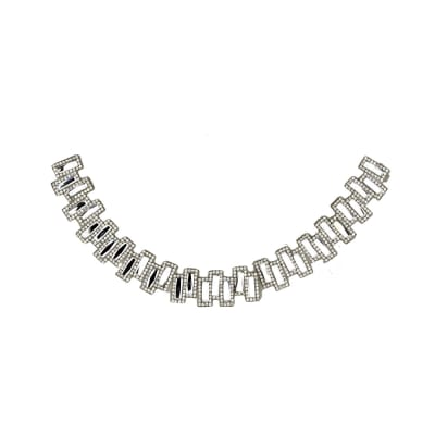 "8.5"" x 7"" Sarah  Medium Collar Iron-on Rhinestone Applique Crystal"