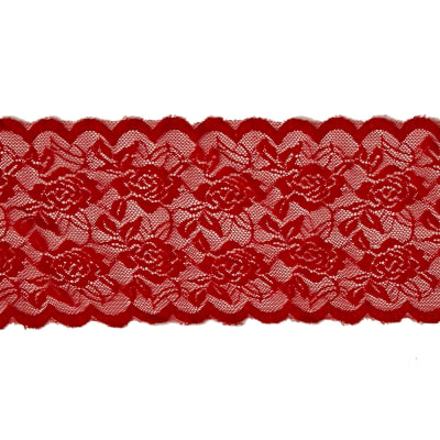 """6.5""""Angelina Stretchable Polyester Chantilly Lace Trim Red"""